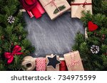 christmas backdrop  gifts and... | Shutterstock . vector #734975599