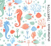 watercolor seamless pattern... | Shutterstock . vector #734977774