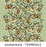 seamless vector floral pattern... | Shutterstock .eps vector #734981611