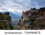 landscape of meteora  greece.... | Shutterstock . vector #734984875