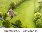 aerial view of buckinghamshire... | Shutterstock . vector #734986411