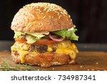 juicy yummy burger. hamburger. | Shutterstock . vector #734987341