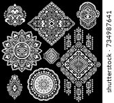 beautiful aztec tribal elements.... | Shutterstock .eps vector #734987641