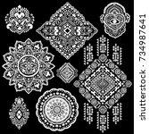 beautiful aztec tribal elements....   Shutterstock .eps vector #734987641