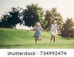 little pretty girls having fun... | Shutterstock . vector #734992474