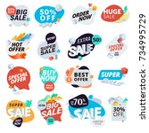 unique collection of stickers... | Shutterstock .eps vector #734995729