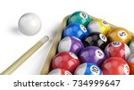 billiard pool balls pyramid... | Shutterstock . vector #734999647