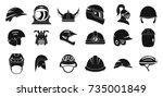 helmet icon set. simple set of... | Shutterstock .eps vector #735001849