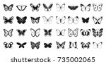 butterfly icon set. simple set... | Shutterstock .eps vector #735002065