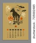 vector calendar for october... | Shutterstock .eps vector #735002485