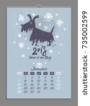 vector calendar for january... | Shutterstock .eps vector #735002599