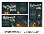 three posters with halloween... | Shutterstock .eps vector #735003604