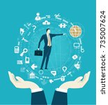 successful businessmen pointing ... | Shutterstock .eps vector #735007624