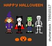 halloween set in style of eight ... | Shutterstock .eps vector #735010117