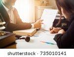 consultation between attorney... | Shutterstock . vector #735010141