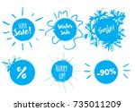 winter sale banner with stains... | Shutterstock .eps vector #735011209