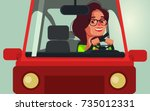 happy smiling woman character... | Shutterstock .eps vector #735012331