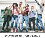 happy crazy friends celebrating ... | Shutterstock . vector #735012571