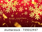 merry christmas and happy new... | Shutterstock .eps vector #735012937