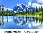 picture lake evergreens mount... | Shutterstock . vector #735013009