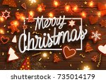 christmas cookies  gingerbread... | Shutterstock .eps vector #735014179