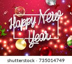 merry christmas and happy new... | Shutterstock .eps vector #735014749