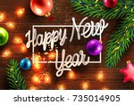 merry christmas and happy new... | Shutterstock .eps vector #735014905