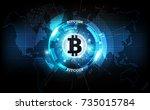 golden bitcoin digital currency ... | Shutterstock .eps vector #735015784