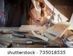 craftsman working on stone