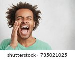 overjoyed excited happy mixed... | Shutterstock . vector #735021025