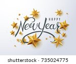 happy new year with... | Shutterstock .eps vector #735024775