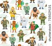 hunters vector illustration... | Shutterstock .eps vector #735029131