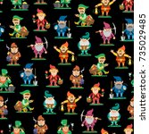 fairy tale fantastic gnome... | Shutterstock .eps vector #735029485