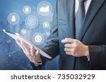 professional businessman is... | Shutterstock . vector #735032929