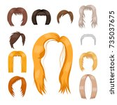 set of woman hair styling... | Shutterstock .eps vector #735037675