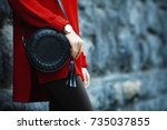 fashionable woman posing in... | Shutterstock . vector #735037855