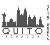 quito skyline silhouette design ... | Shutterstock .eps vector #735037921