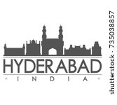 hyderabad india skyline... | Shutterstock .eps vector #735038857