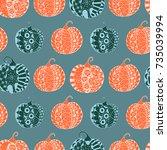halloween zentangle pattern.... | Shutterstock .eps vector #735039994