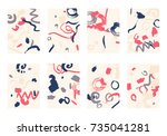 set of 8 cover templates.... | Shutterstock .eps vector #735041281