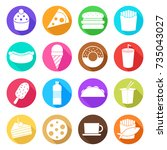 fast food take away flat icon... | Shutterstock .eps vector #735043027