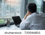 business bored use computer... | Shutterstock . vector #735046801