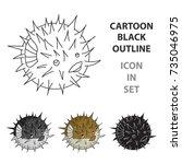 porcupine fish icon in cartoon... | Shutterstock .eps vector #735046975