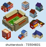 buildings and soccer stadium in ... | Shutterstock .eps vector #73504831
