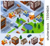 food stalls and some buildings... | Shutterstock .eps vector #73504834