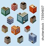set of isometric buildings.... | Shutterstock .eps vector #73504837