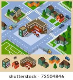cafe and neighborhood isometric.... | Shutterstock .eps vector #73504846