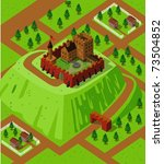 castle on a countryside hill....   Shutterstock .eps vector #73504852