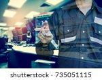double exposure of  engineer or ...   Shutterstock . vector #735051115
