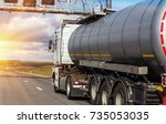big gas tank goes on highway... | Shutterstock . vector #735053035